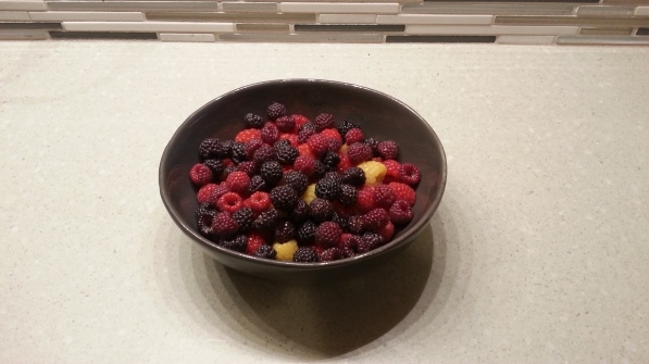Black, red and yellow raspberries