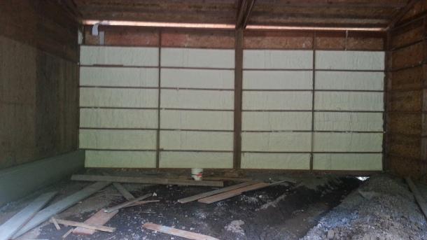 Spray foam insulation installed on all exterior walls